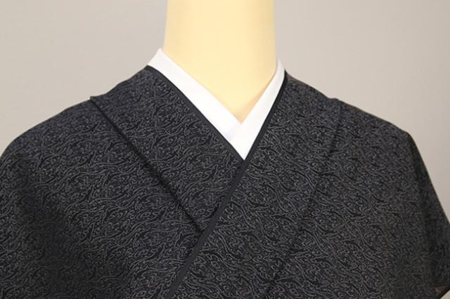 正絹 洗えるお召し単衣着物 オーダー仕立て付 ワタマサ 鮫小紋 黒
