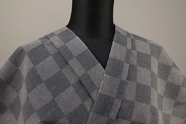 夏着物・浴衣(ゆかた) 超長綿 オーダー仕立て付き 市松模様 鮫小紋 灰 ◆男女兼用◆