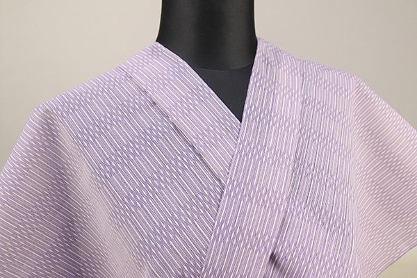 夏着物・浴衣(ゆかた) 超長綿 オーダー仕立て付き ボーダー 紫 ◆男女兼用◆