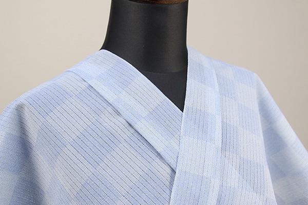 夏着物・浴衣(ゆかた) 超長綿 オーダー仕立て付き 市松模様 鮫小紋 青 ◆男女兼用◆
