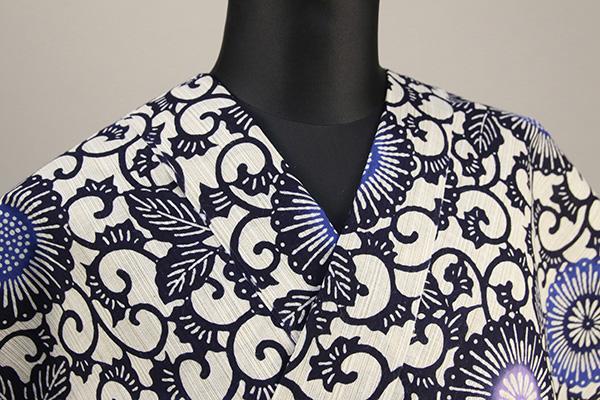 浜松注染浴衣(ゆかた) オーダー仕立て付き 注染 花柄 白×黒×青