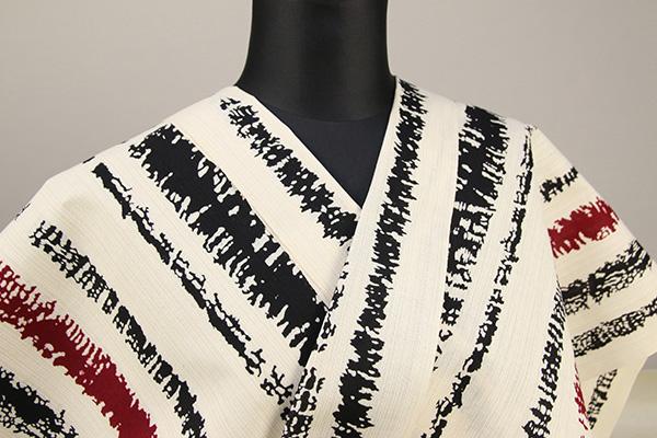 浜松注染浴衣(ゆかた) オーダー仕立て付き 注染 ストライプ 白×黒×赤