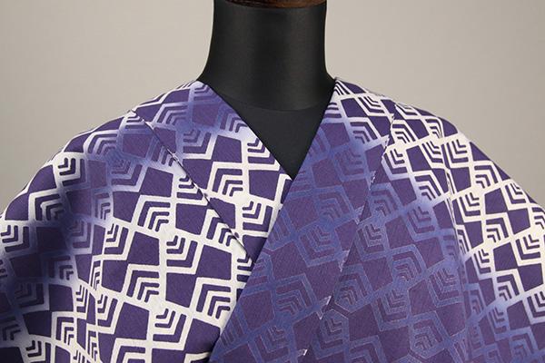 浜松注染 浴衣 紫×白 幾何学模様 オーダー仕立て付き