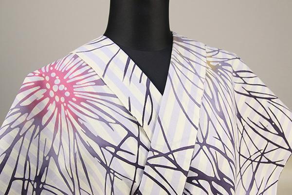 浜松注染 浴衣 白×紫 ストライプ 花柄 オーダー仕立て付き