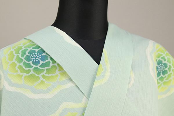 浜松注染浴衣(ゆかた) オーダー仕立て付き 注染 花柄 緑色