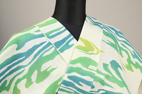 浜松注染浴衣(ゆかた) オーダー仕立て付き 注染 波模様 白×緑