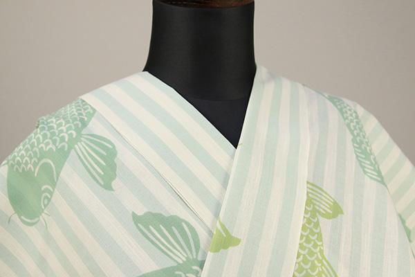 浜松注染浴衣(ゆかた) オーダー仕立て付き 注染 鯉 緑色