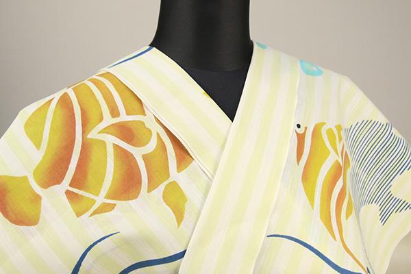 浜松注染浴衣(ゆかた) オーダー仕立て付き 注染 ストライプ 熱帯魚 黄色