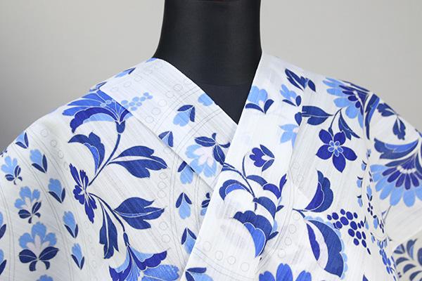 itomi浴衣(ゆかた) オーダー仕立て付き 木綿 花柄 白×青 ◆女性にオススメ◆