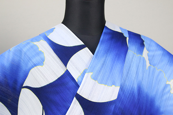itomi浴衣(ゆかた) オーダー仕立て付き 木綿 銀杏 白×青 ◆男女兼用◆