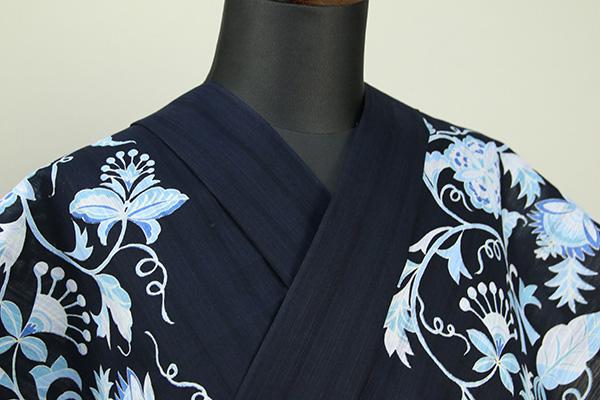 itomi浴衣(ゆかた) オーダー仕立て付き 木綿 更紗柄 紺×薄水色 ◆男女兼用◆