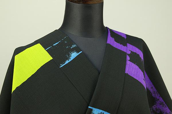 JUNKO KOSHINO浴衣(ゆかた) オーダー仕立て付き セオα カラフルボーダー 黒
