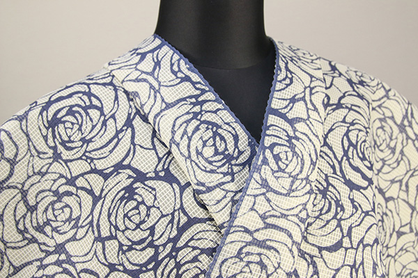 江戸長板 絹紅梅 浴衣(ゆかた) オーダー仕立て付き 薔薇 白×藍 むさしの物語 ◆女性にオススメ◆