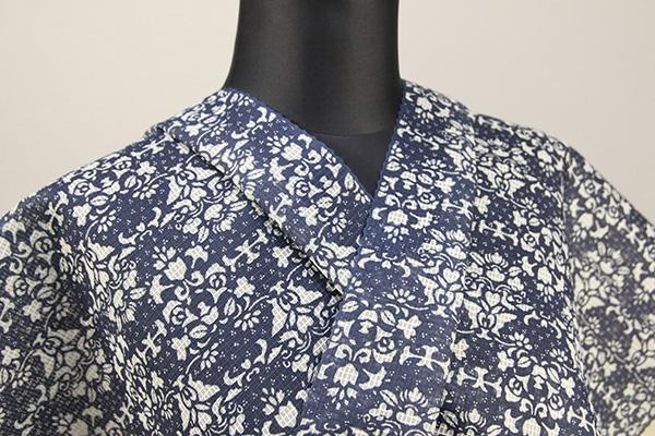 むさしの物語 絹紅梅 浴衣(ゆかた) オーダー仕立て付き 花柄 白×藍 ◆女性にオススメ◆