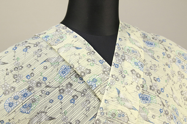 綿麻絽 夏着物 浴衣(ゆかた)オーダー仕立て付き むさしの物語 紅型調 小紋柄 黄青緑灰◆女性にオススメ◆