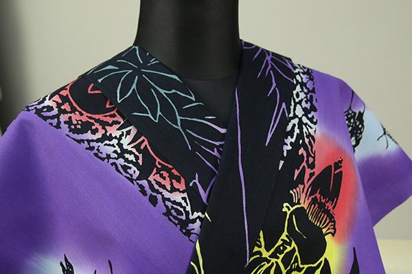 Rumi Rock 浴衣 オーダー仕立て付き 蝶 バナナの木 黒×紫