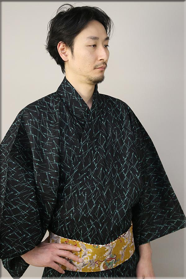 源氏物語 浴衣(ゆかた) オーダー仕立て付き 松葉 緑×黒 ◆男性にオススメ◆