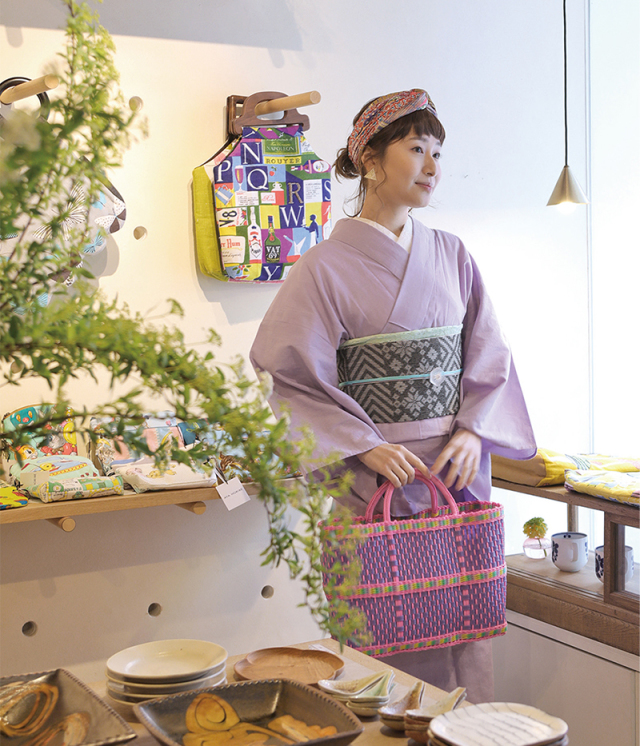 59kimono ラベンダー 綿麻きもの オーダー仕立付き 紫 ◆女性にオススメ◆