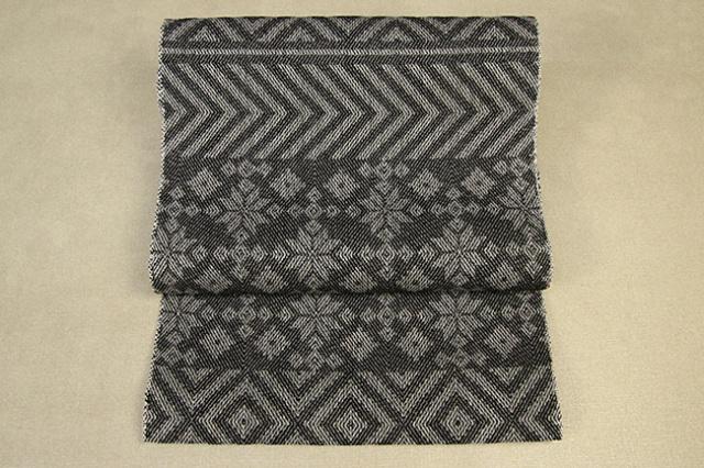 59kimono 桐生織 八寸名古屋帯 積み木 グレー 井清織物 仕立付き