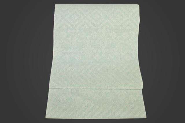 59kimono 桐生織 八寸名古屋帯 積み木 ブルー 井清織物 仕立付き