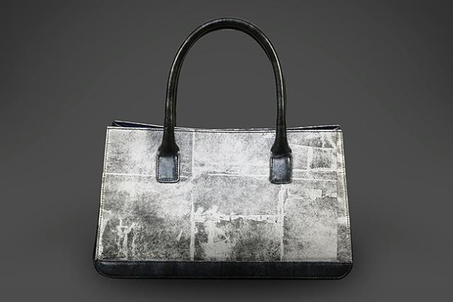 Hiroto Rakusho & Calen Blosso バッグ 琳派シルバー ポスト コンビ 銀箔革使用