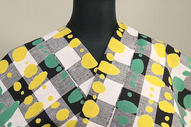 浴衣(ゆかた) オーダー仕立て付き チェック ドット 緑×黄 女性にオススメ