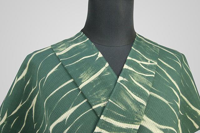 【受注生産品】京都 藤井絞 はごろ木綿 オーダー仕立て付き 洗える普段着着物 ムラ雲 緑