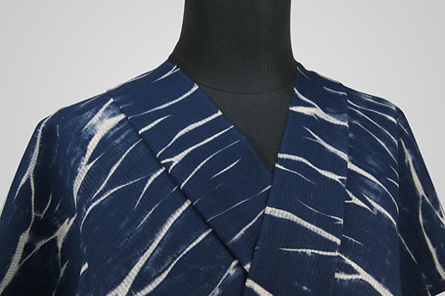 【受注生産品】京都 藤井絞 はごろ木綿 オーダー仕立て付き 洗える普段着着物 ムラ雲 紺