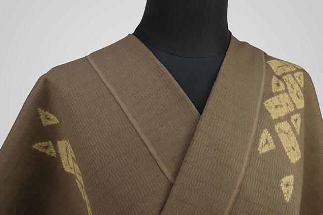【受注生産品】京都 藤井絞 はごろ木綿 オーダー仕立て付き 洗える普段着着物 ひがき巻 茶