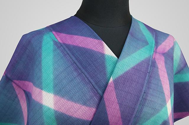 【受注生産品】京都 藤井絞 はごろ木綿 オーダー仕立て付き 洗える普段着着物 プリズム 紫