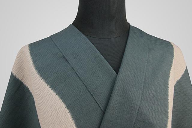 【受注生産品】京都 藤井絞 はごろ木綿 オーダー仕立て付き 洗える普段着着物 よろけ立枠 深緑