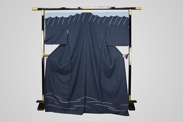 【受注生産品】京都 藤井絞 はごろ木綿 オーダー仕立て付き 洗える普段着着物 付け下げ 慈雨 青