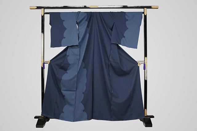 【受注生産品】京都 藤井絞 はごろ木綿 オーダー仕立て付き 洗える普段着着物 染め分け 献上雪輪 青