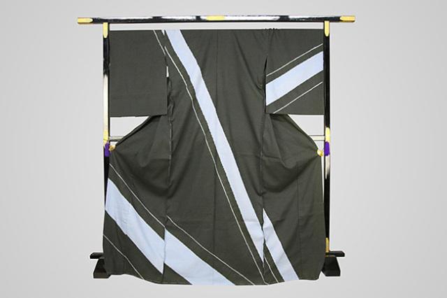 【受注生産品】京都 藤井絞 はごろ木綿 オーダー仕立て付き 洗える普段着着物 付け下げ シャイ 深緑