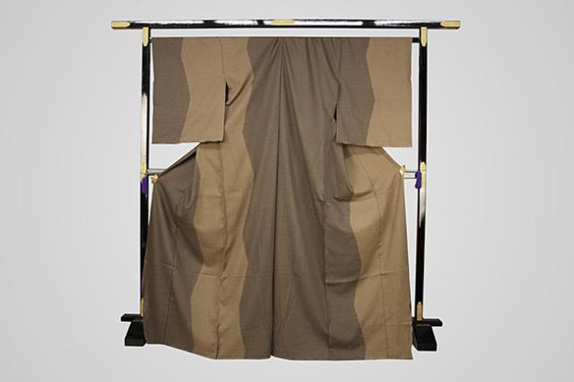 【受注生産品】京都 藤井絞 はごろ木綿 オーダー仕立て付き 洗える普段着着物 染め分け ガンギ縞 茶