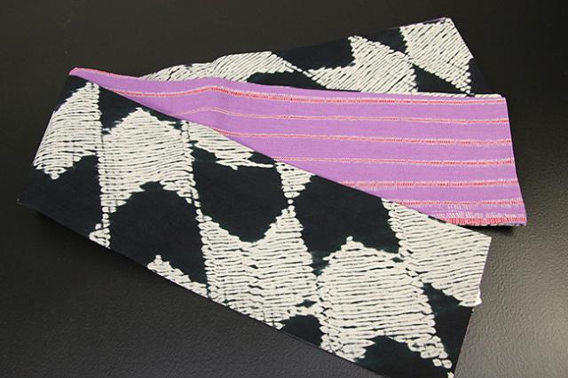 藤井絞 半幅帯 縫い締め絞り 綿麻 リバーシブル 黒×白