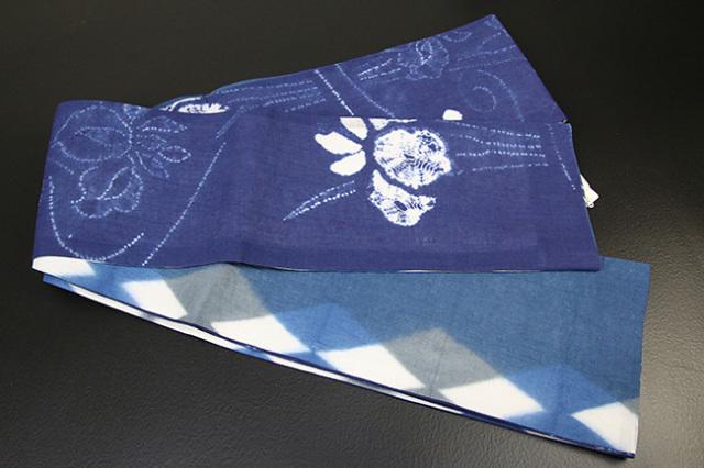 藤井絞 半幅帯 絞り柄 菖蒲 綿麻 リバーシブル 青×白