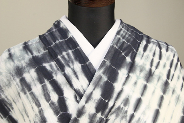 綿ちりめん 浴衣(ゆかた) オーダー仕立て付き ひでや工房 絞り柄 白黒◆女性にオススメ◆
