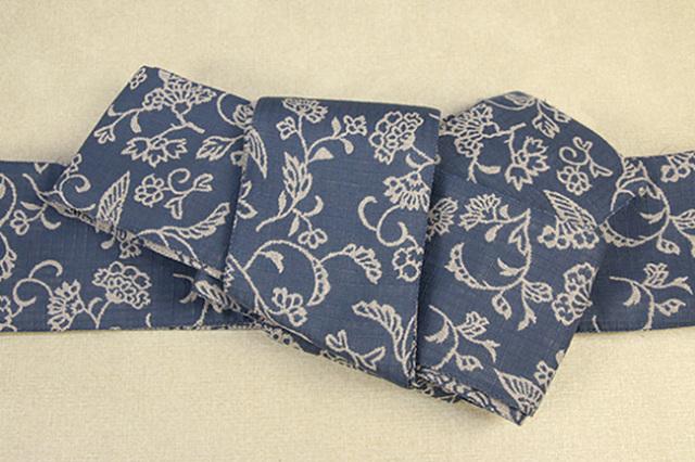 ひでや工房 角帯 お仕立て付き 草花柄 鳥 青×灰