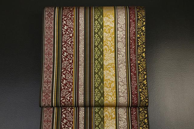 西村織物 博多織 至宝間道 菊唐草 本袋帯 正絹 茶 お仕立て付き