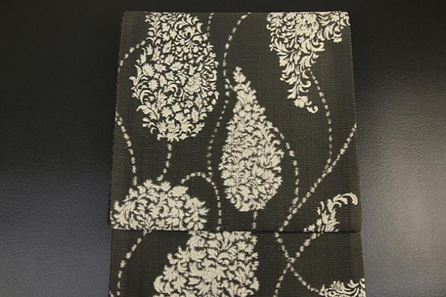 西村織物 博多織 西域記 松毬唐花 紋袋帯 正絹 カーキ お仕立て付き