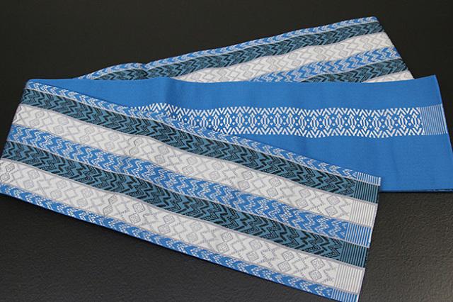 西村織物 結 博多織 正絹半幅帯 かがり仕立付 バティック 絹100% 青