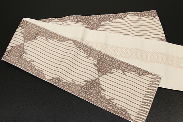 西村織物 結 博多織 正絹半幅帯 かがり仕立付 珠玉文 絹100% ベージュ