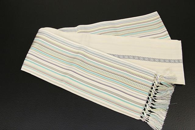 西村織物 博多織 正絹半幅帯 かがり仕立付 真田間道 絹100% 白