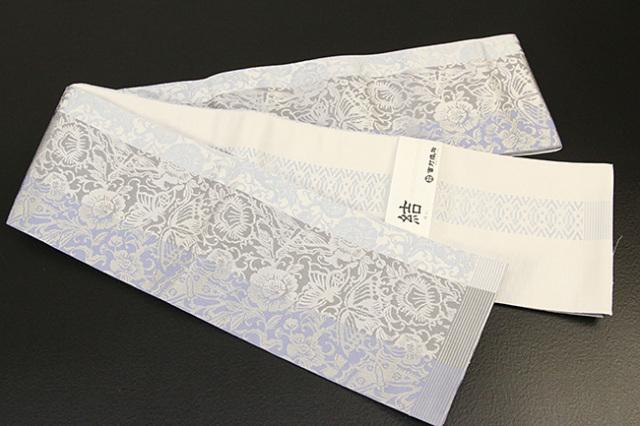 西村織物 結 博多織 正絹半幅帯 かがり仕立付 蝶牡丹 絹100% 灰