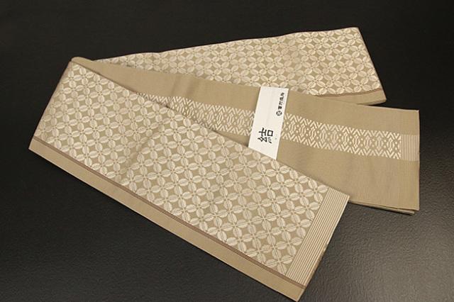 西村織物 結 博多織 正絹半幅帯 かがり仕立付 ビーンズ 絹100% ベージュ