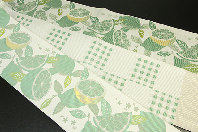 紋小巾袋帯 博多織 正絹半幅帯 かがり仕立付 緑×白 檸檬