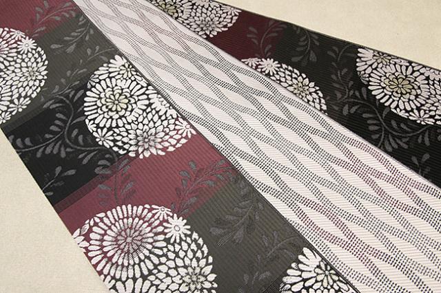 紋小巾袋帯 博多織 正絹半幅帯 かがり仕立付 黒×赤 菊