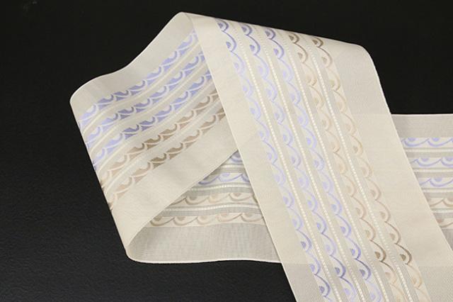 本場筑前博多織 4.3寸紗織 ゆかた帯 正絹半幅帯 波 かがり仕立付 アイボリー