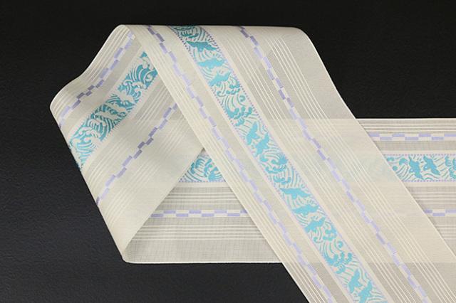 本場筑前博多織 4.3寸紗織 ゆかた帯 正絹半幅帯 波千鳥 かがり仕立付 アイボリー